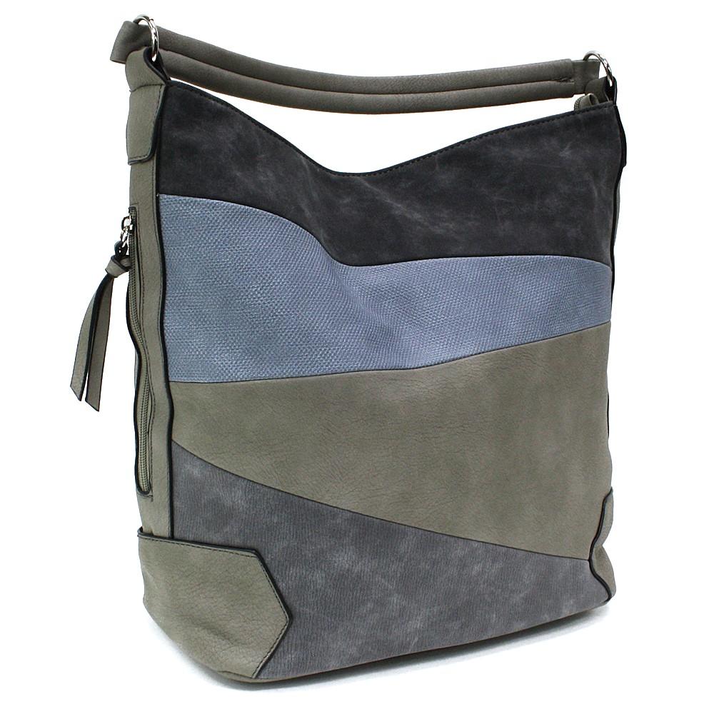 Šedomodrá velká dámská kabelka přes rameno Eliane