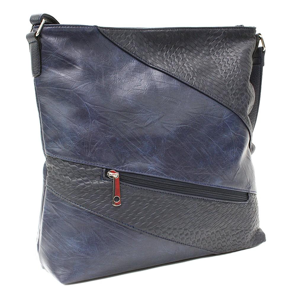 Tmavě modrá zipová dámská praktická kabelka Aubrey