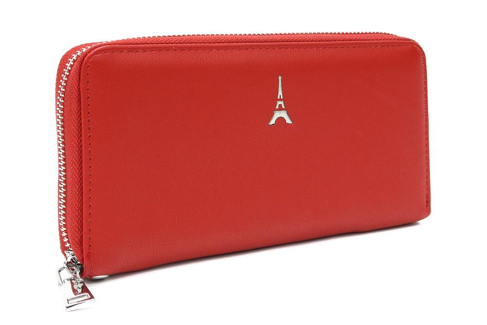Červená zipová dlouhá dámská peněženka Madalyn