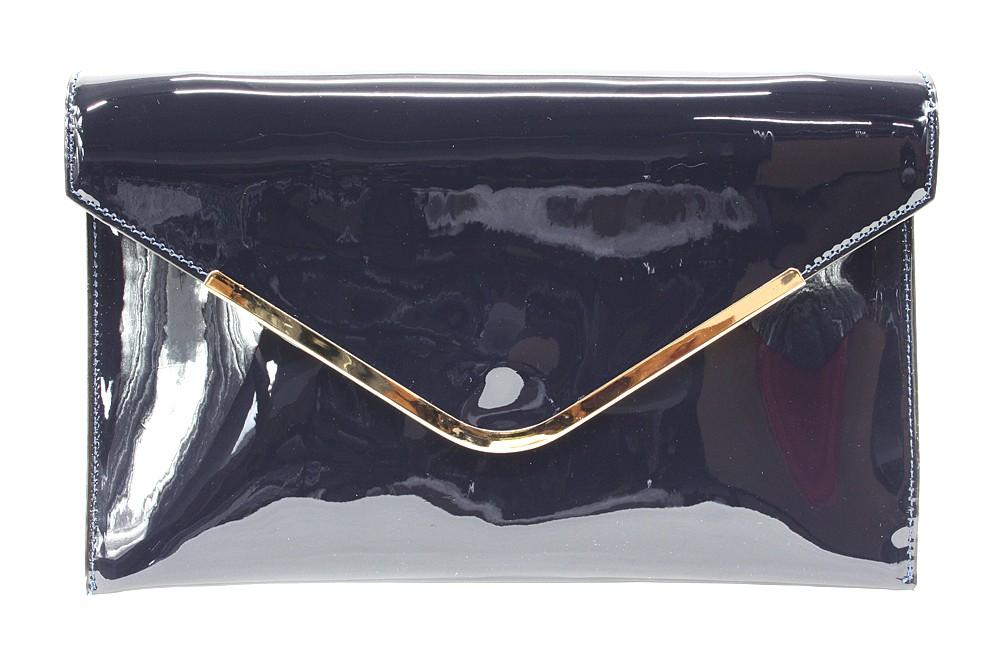 Tmavě modrá lakovaná dámská kabelka Brettany