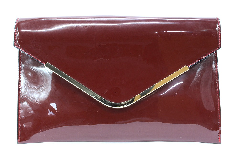 Vínově červená lakovaná dámská kabelka Brettany