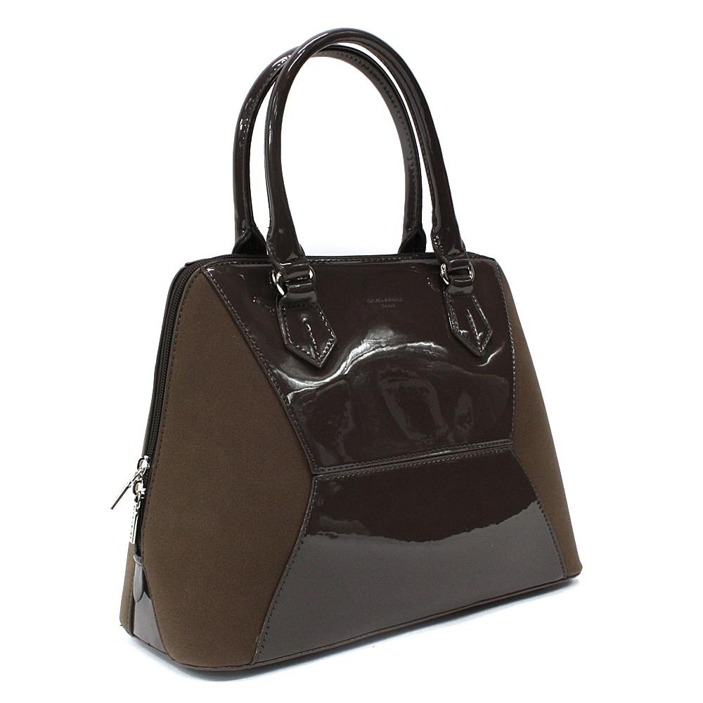 Tmavě hnědá pololakovaná dámská kabelka do ruky Diandra