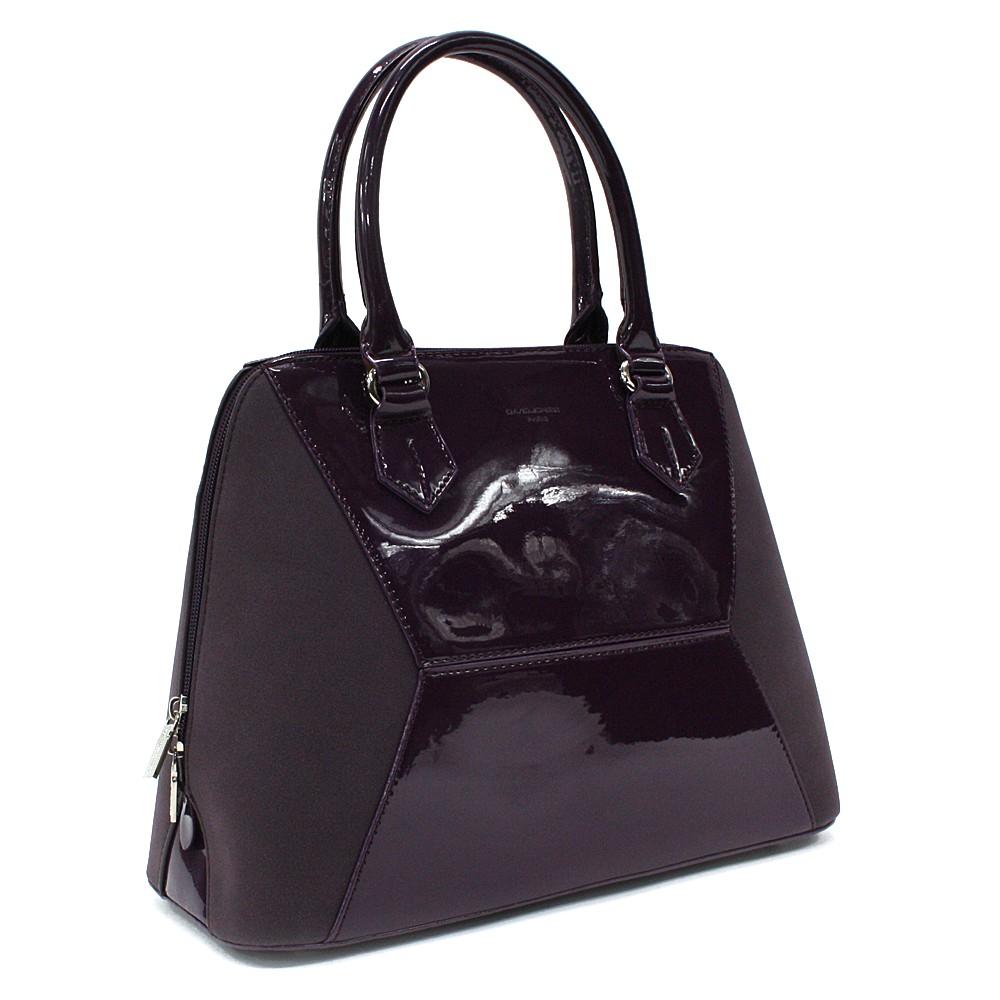 Tmavě fialová pololakovaná dámská kabelka do ruky Diandra