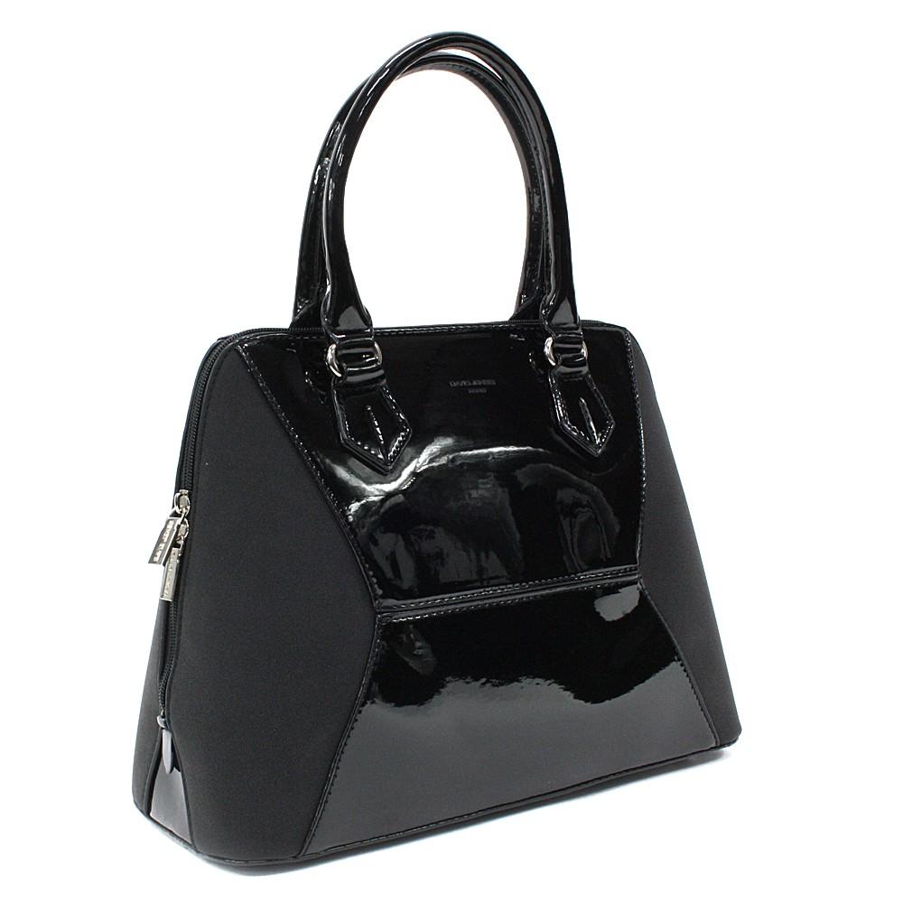 Černá pololakovaná dámská kabelka do ruky Diandra