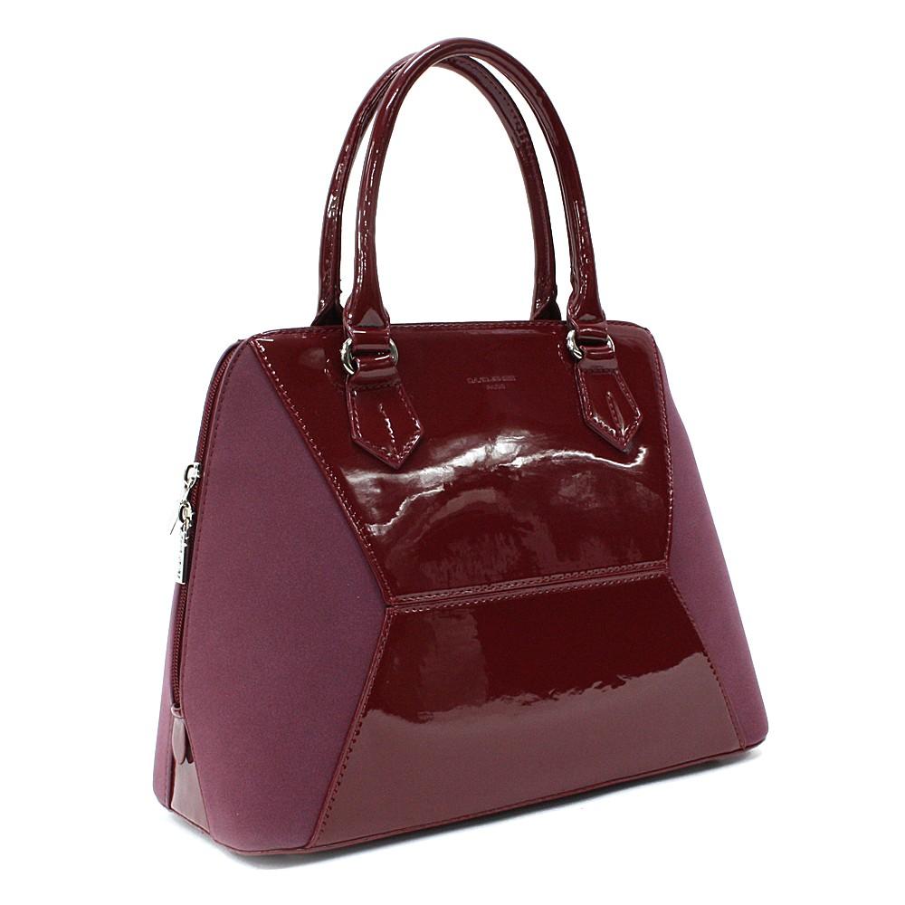 Vínově červená pololakovaná dámská kabelka do ruky Diandra
