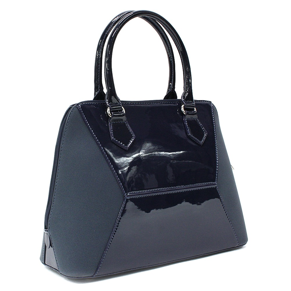 Tmavě modrá pololakovaná dámská kabelka do ruky Diandra
