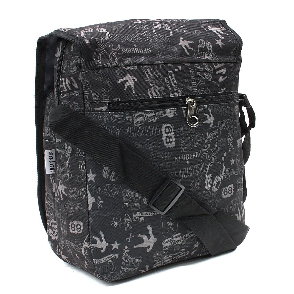 Tmavě šedá pánská crossbody taška se vzorem Alden
