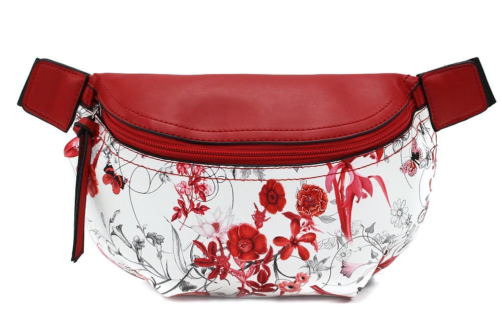 Červenobílá dámská kabelka ledvinka s motivem květin Jehane