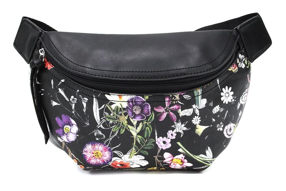Černá dámská kabelka ledvinka s motivem květin Jehane