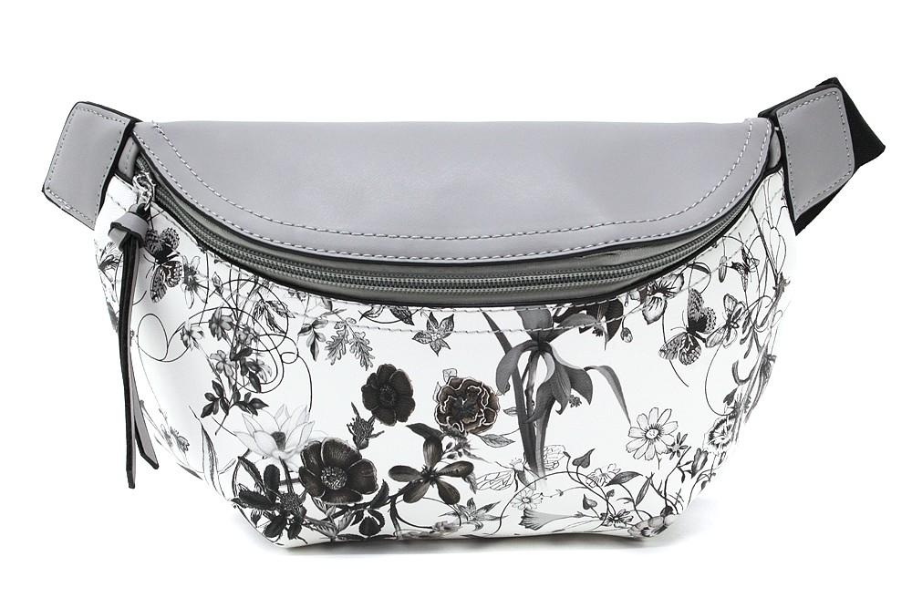 Šedobílá dámská kabelka ledvinka s motivem květin Jehane