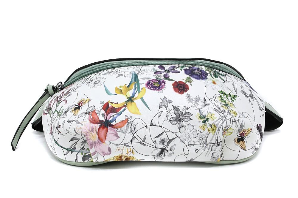 Zelenobílá dámská kabelka ledvinka s motivem květin Jehane