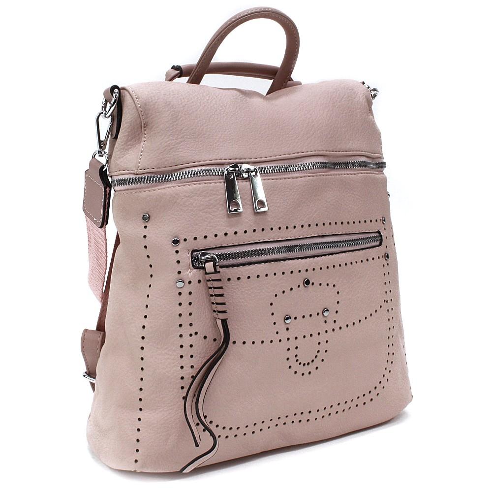 Světle růžový zipový elegantní dámský batoh Taraji