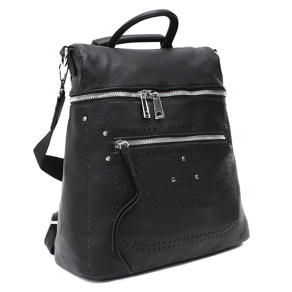Černý zipový elegantní dámský batoh Taraji