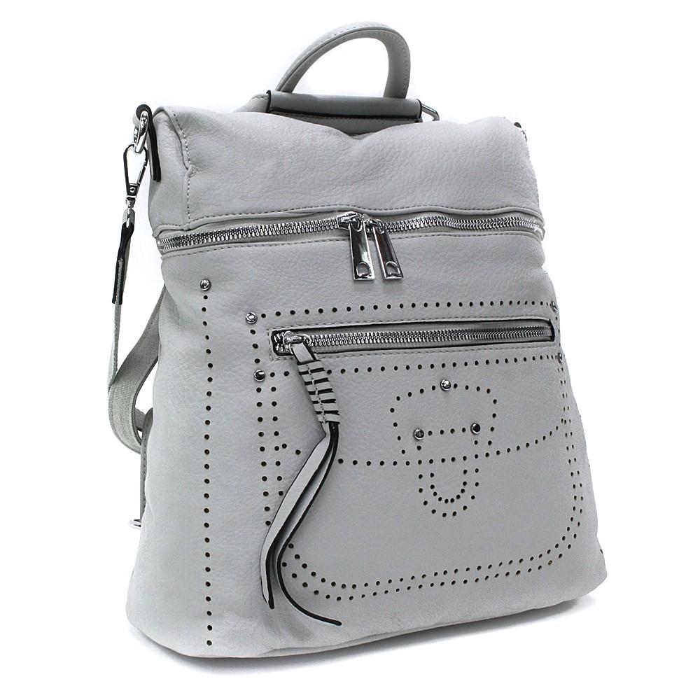 Šedý zipový elegantní dámský batoh Taraji