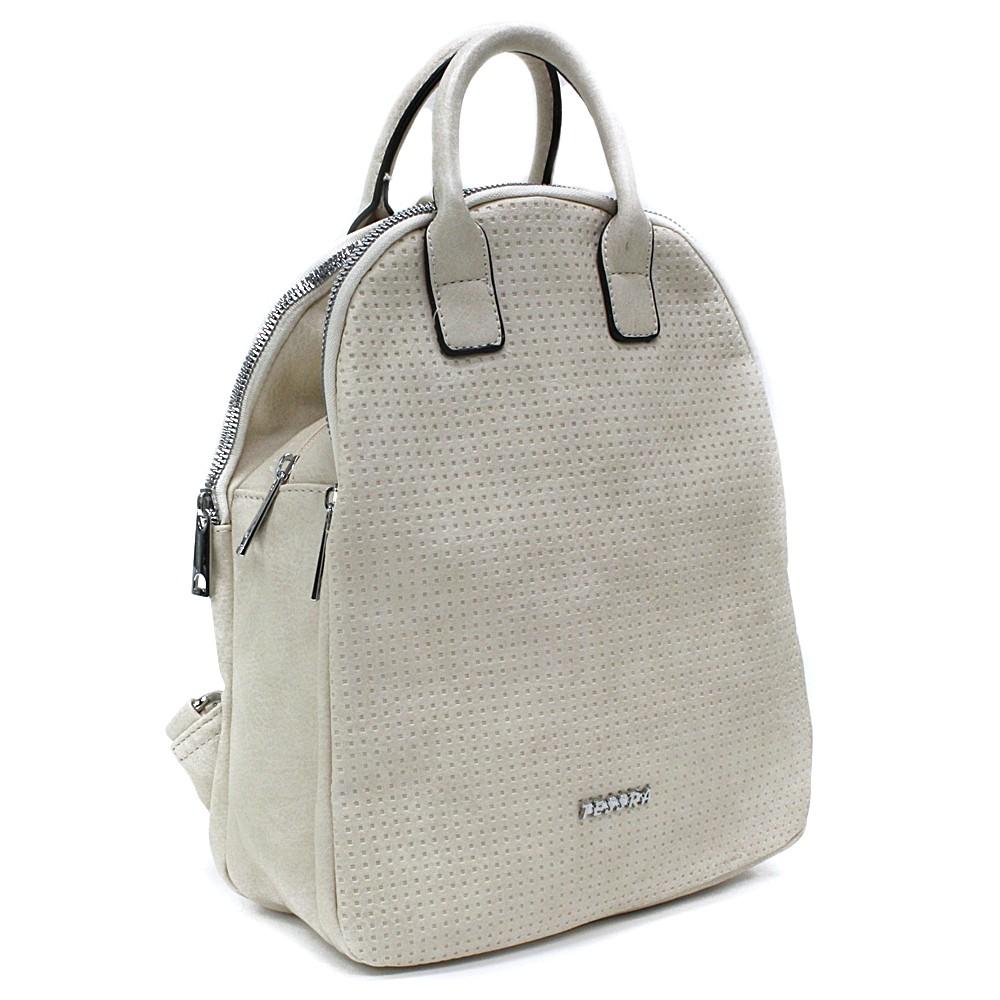 Smetanový moderní zipový dámský batoh Mabella