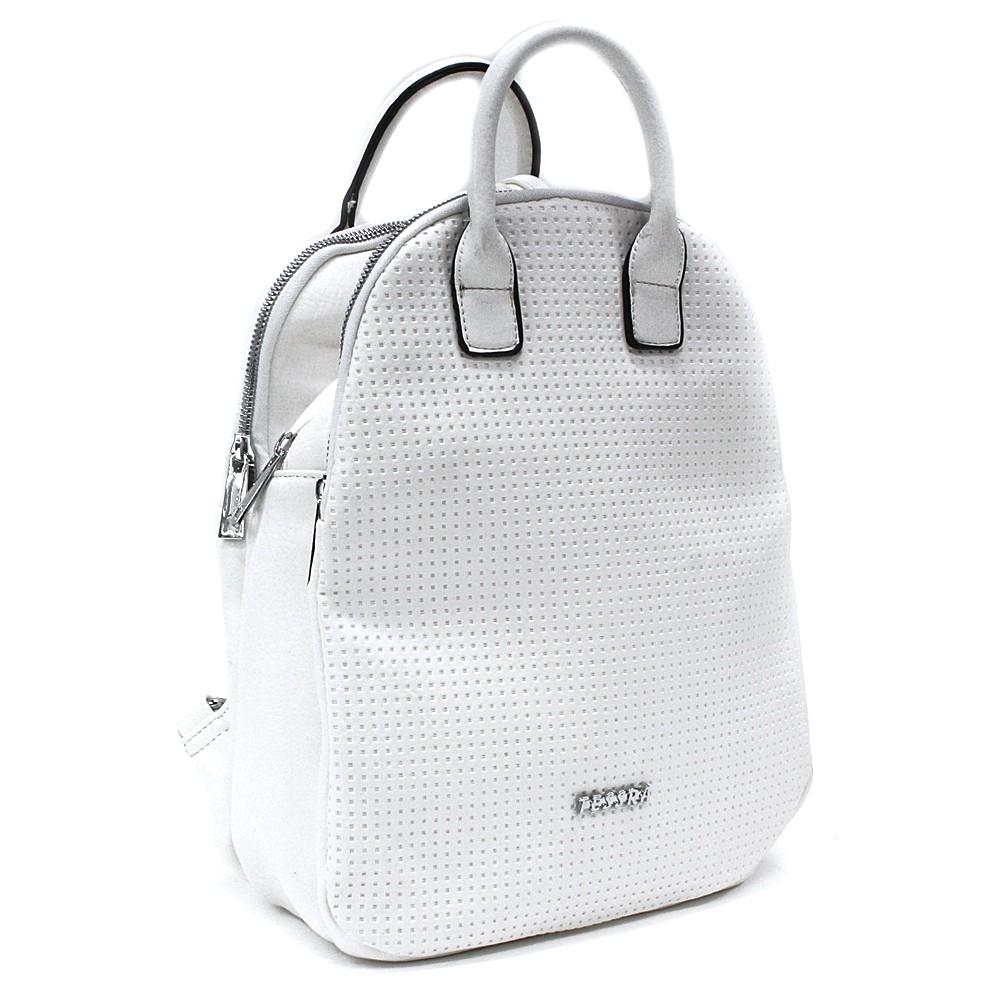 Bílý moderní zipový dámský batoh Mabella