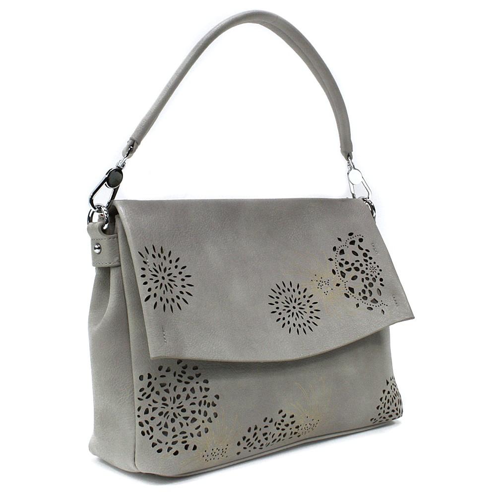 Šedá dámská kabelka s výraznou klopnou Musette