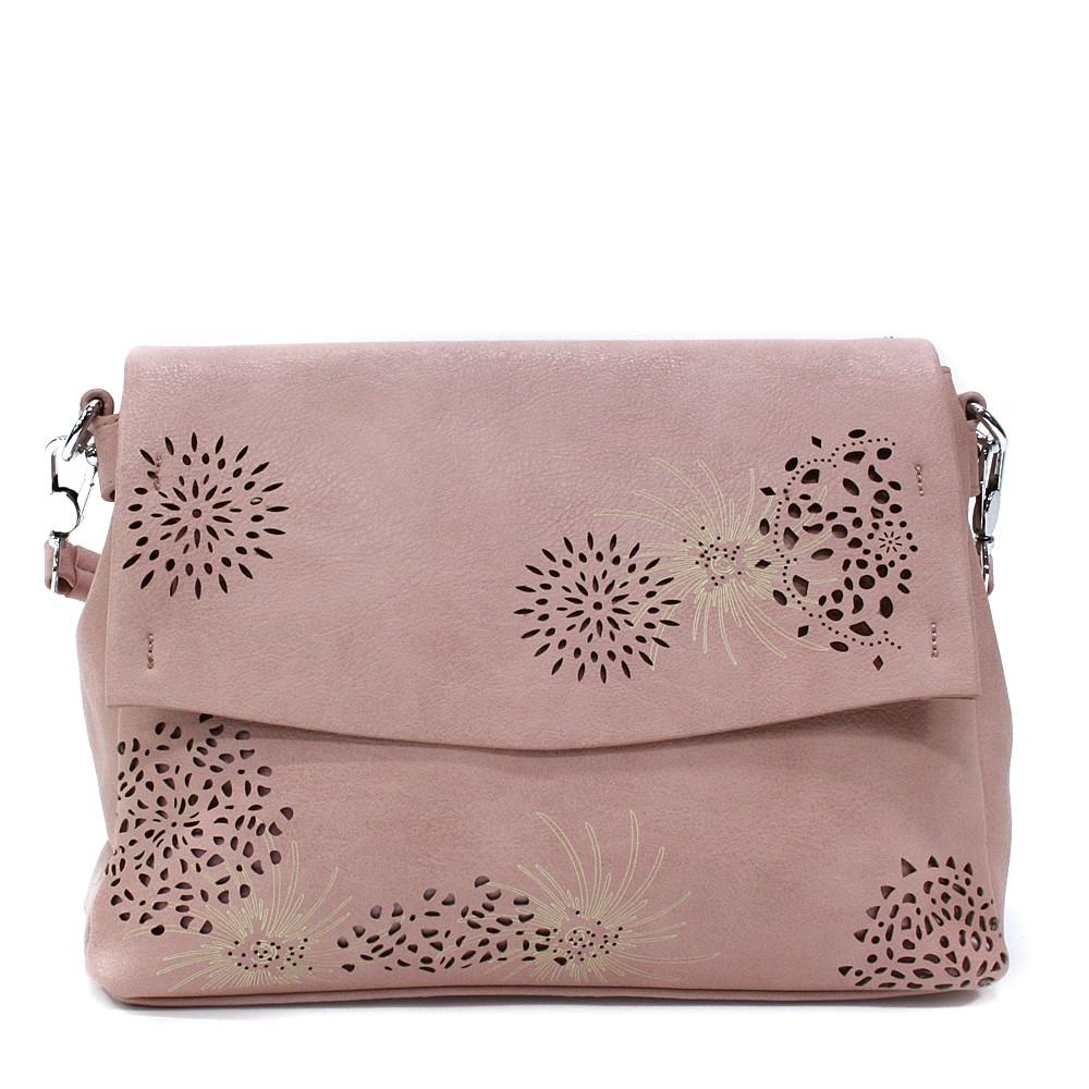 Růžová dámská kabelka s výraznou klopnou Musette