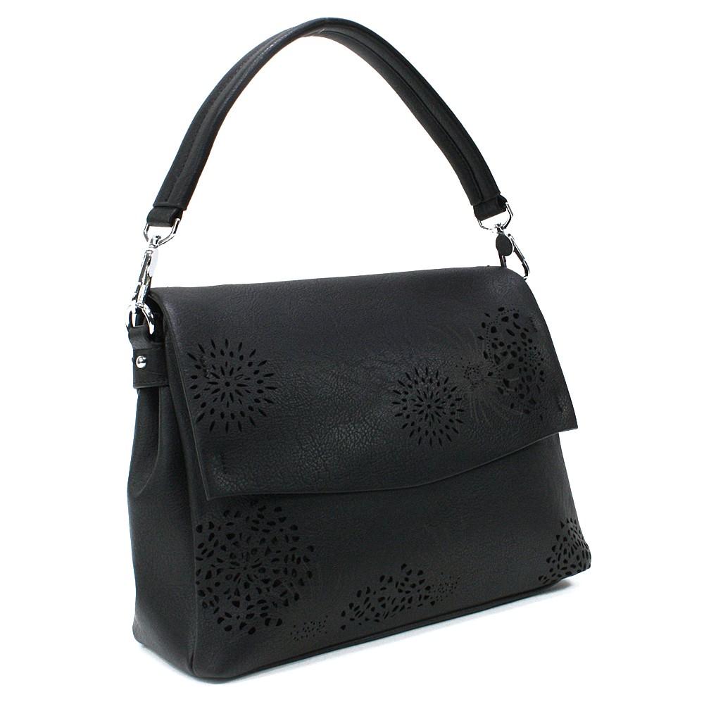 Černá dámská kabelka s výraznou klopnou Musette
