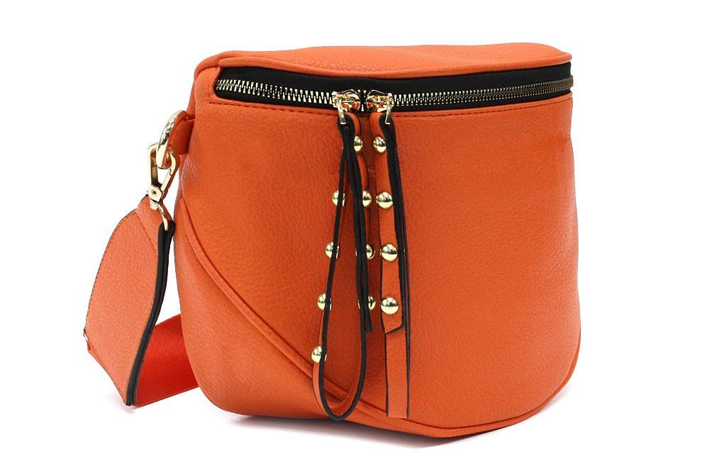 Oranžová dámská kabelka ledvinka s výrazným kováním Jessamina