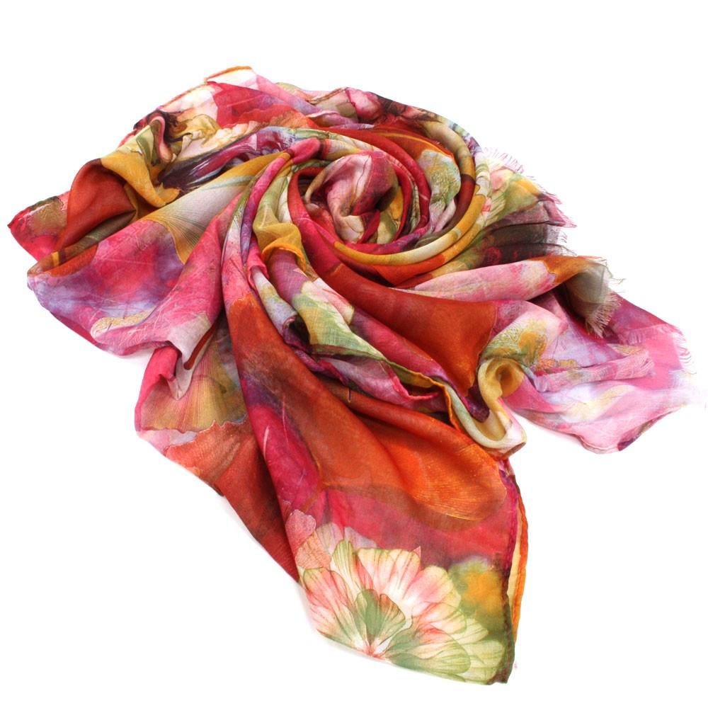 Červenooranžový dámský módní šátek s motivem květin Viollette