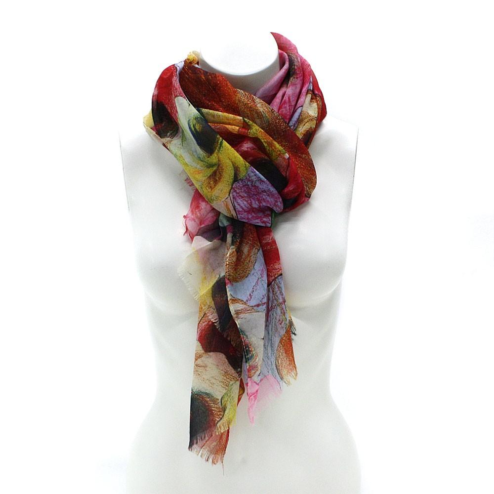 Barevný dámský módní šátek s motivem květin Viollette