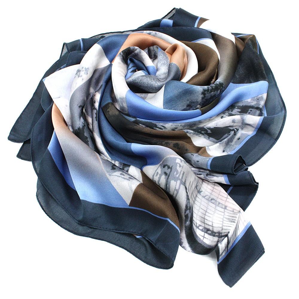 Modrý dámský módní šátek s geometrickým vzorem Lyla