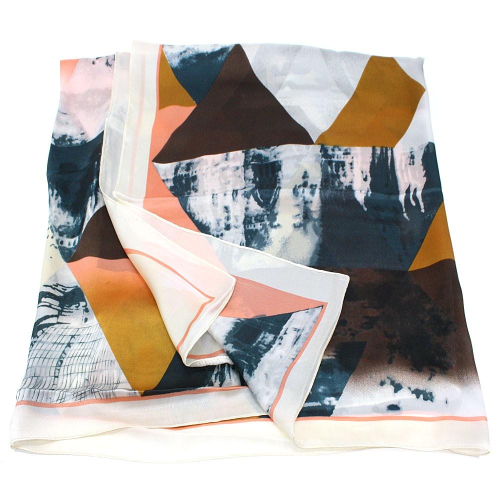 Béžový dámský módní šátek s geometrickým vzorem Lyla
