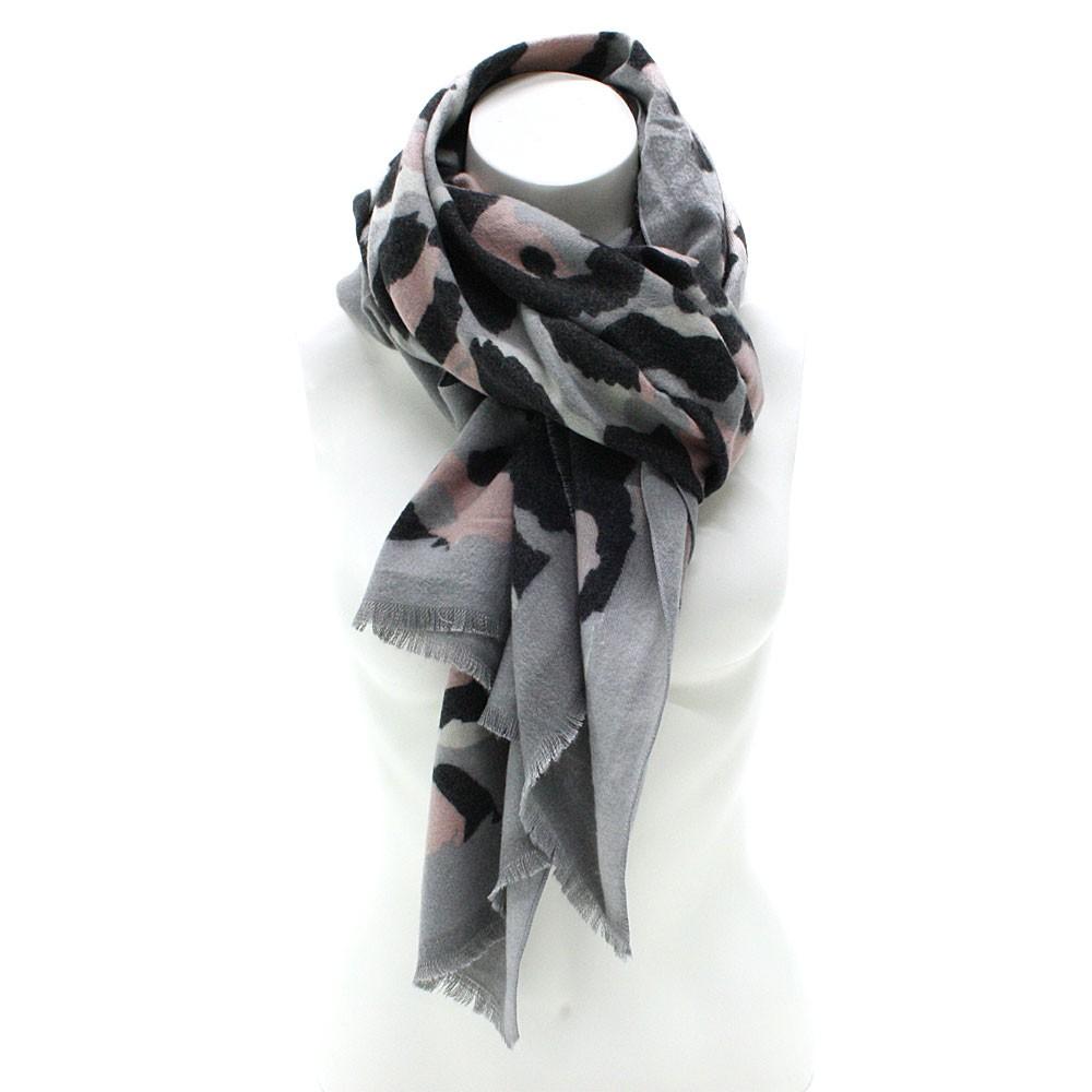 Šedý dámský teplý šátek se zvířecím vzorem Bryn