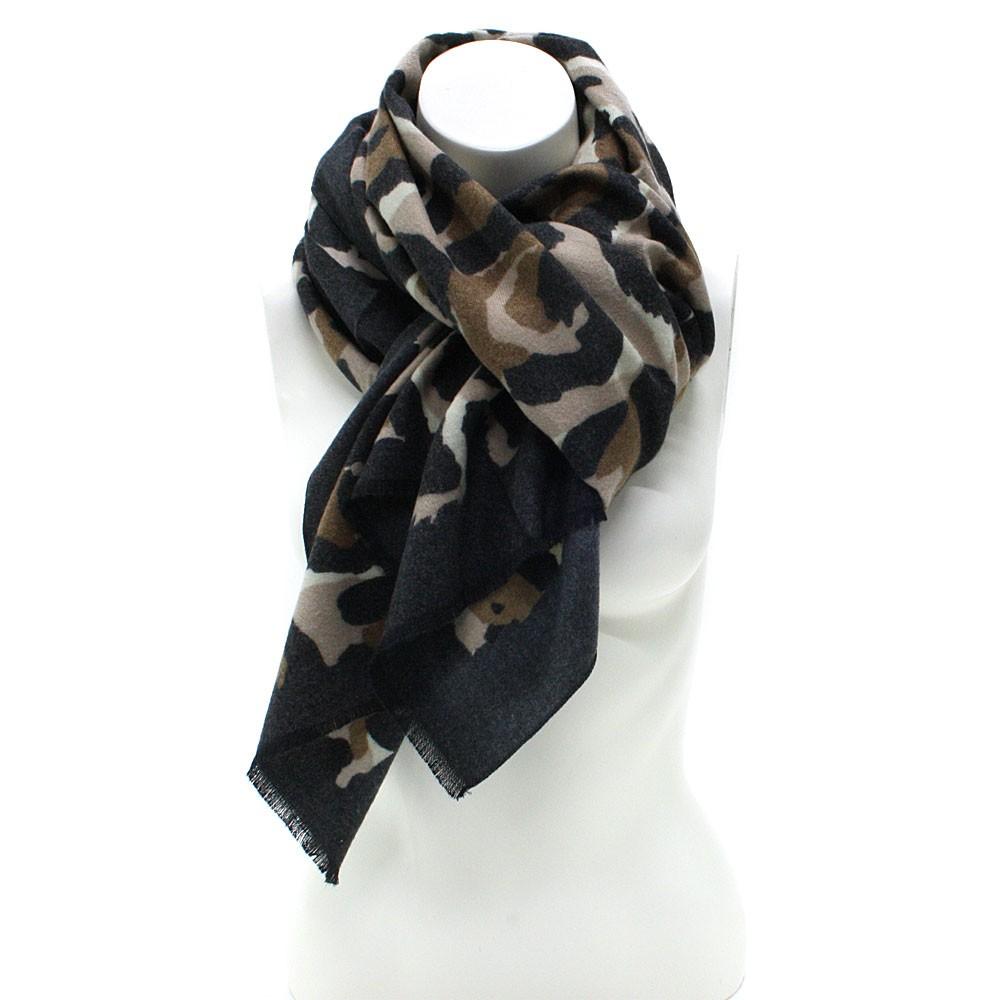 Černý dámský teplý šátek se zvířecím vzorem Bryn