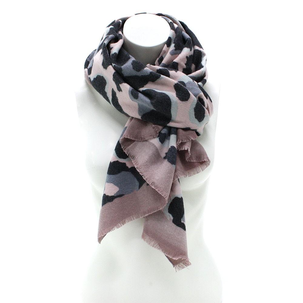 Růžový dámský teplý šátek se zvířecím vzorem Bryn