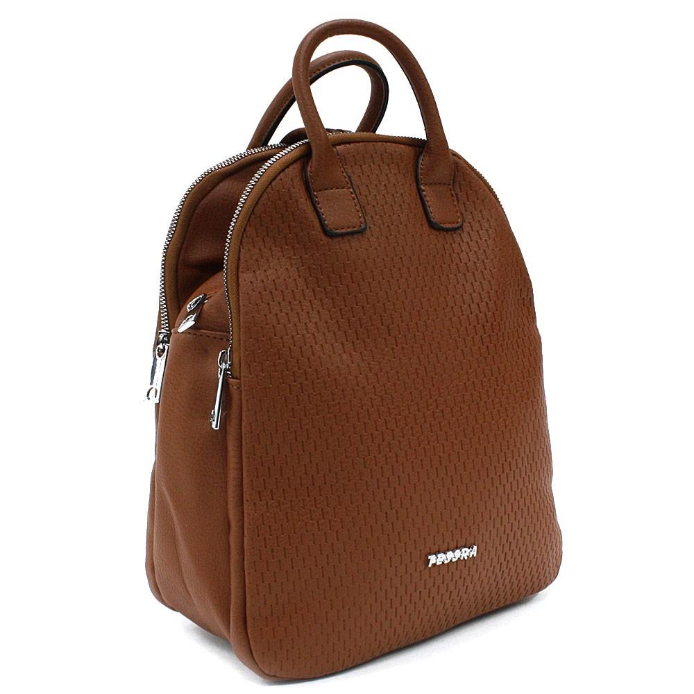 Hnědý moderní zipový dámský batoh Mabella