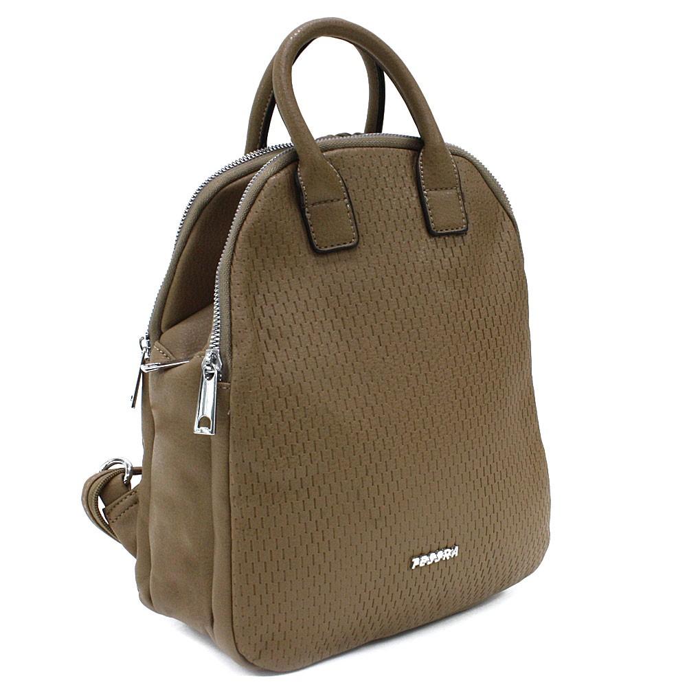 Šedohnědý moderní zipový dámský batoh Mabella