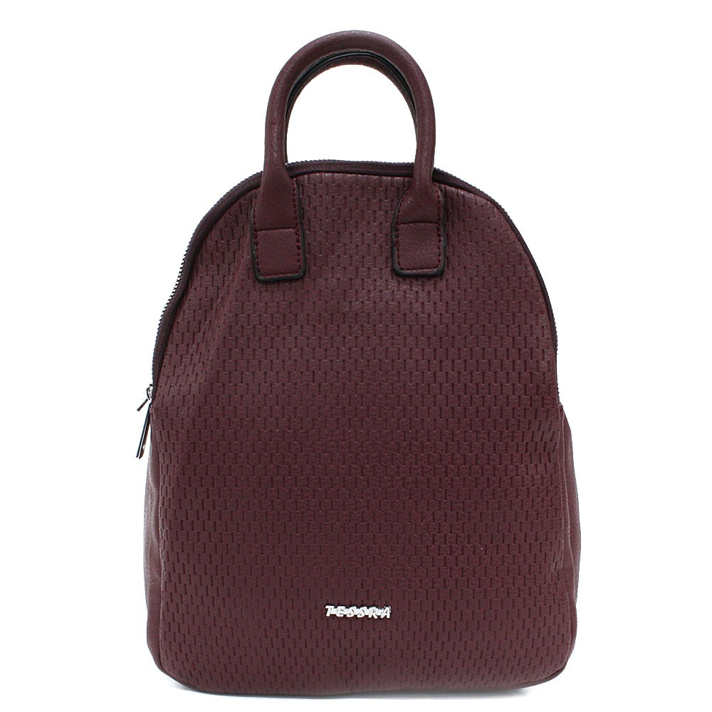 Tmavě červený moderní zipový dámský batoh Mabella