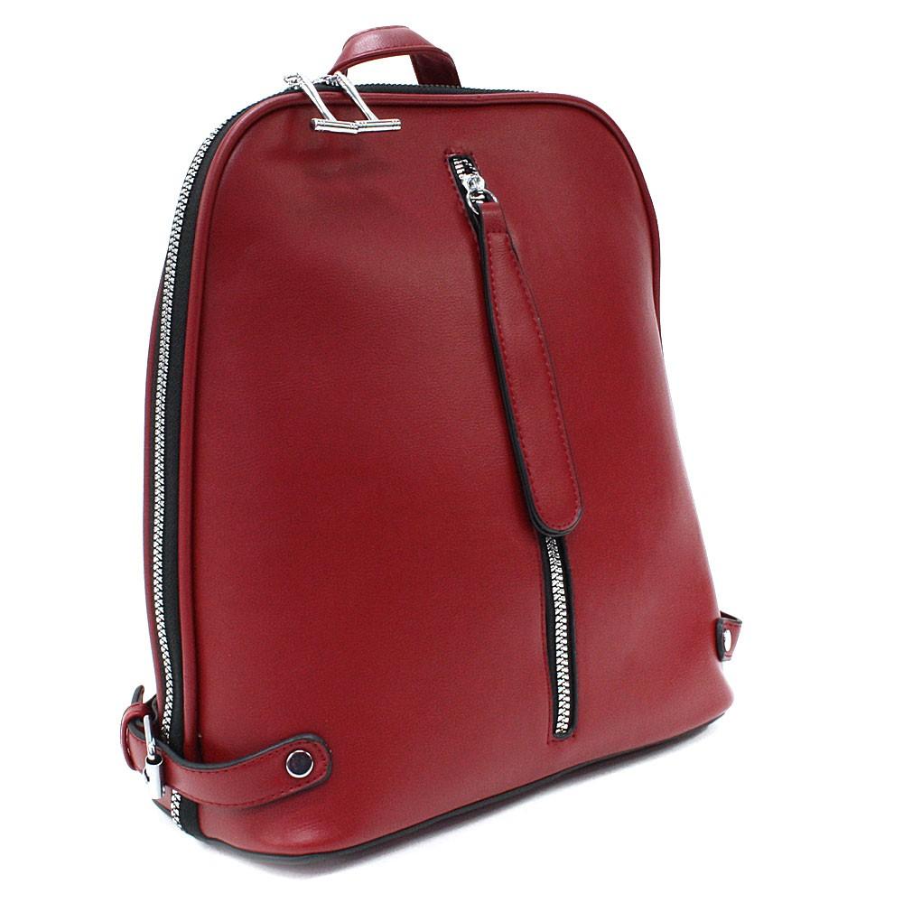 Tmavě červený zipový městský dámský batoh Chereen