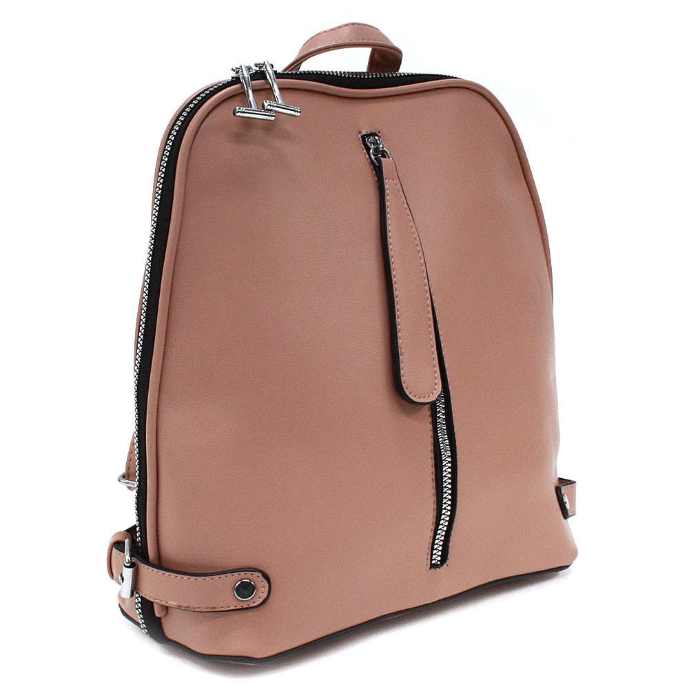 Růžový zipový městský dámský batoh Chereen
