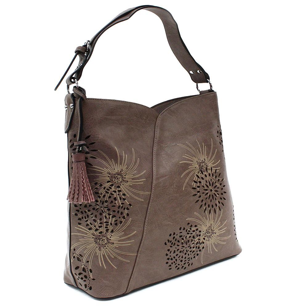 Šedohnědá dámská zipová kabelka přes rameno se vzorem Dorine