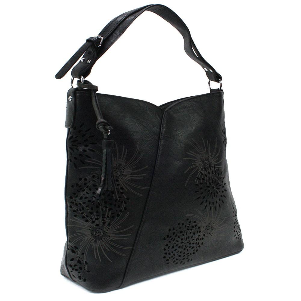 Černá dámská zipová kabelka přes rameno se vzorem Dorine
