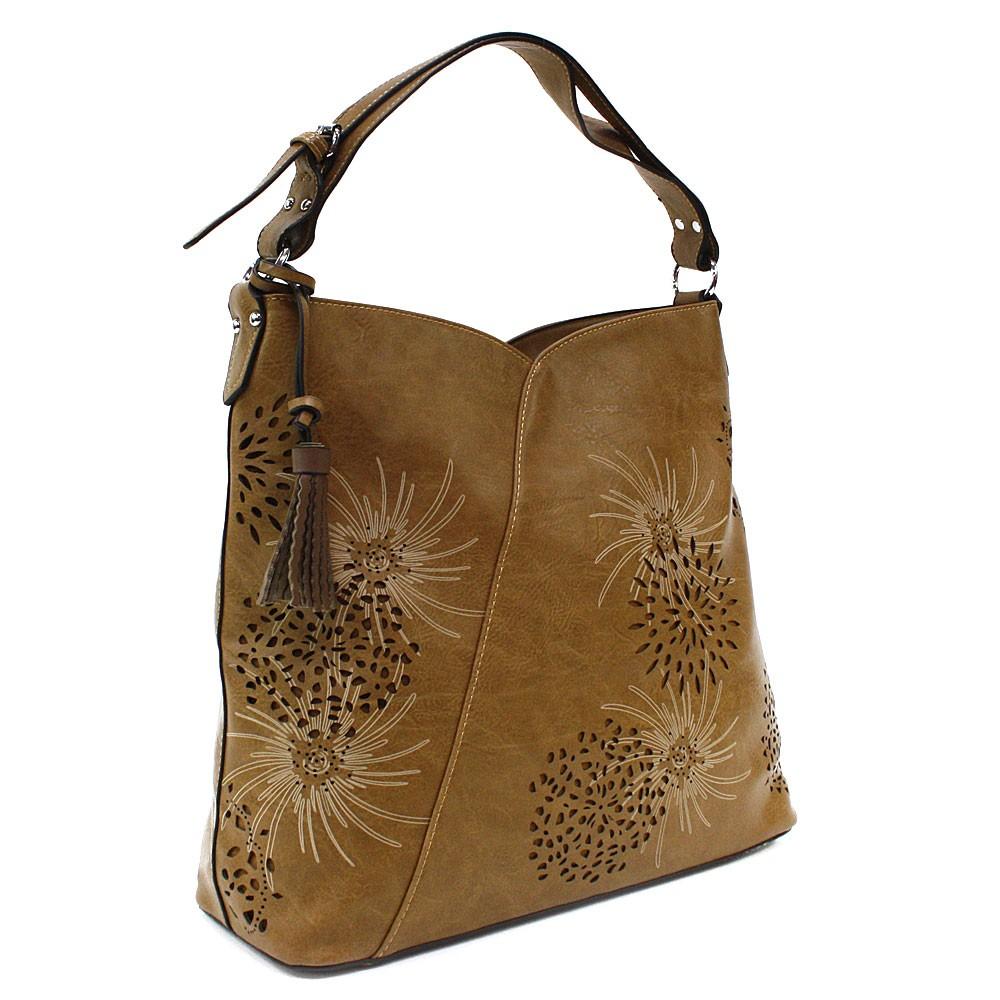 Hnědožlutá dámská zipová kabelka přes rameno se vzorem Dorine