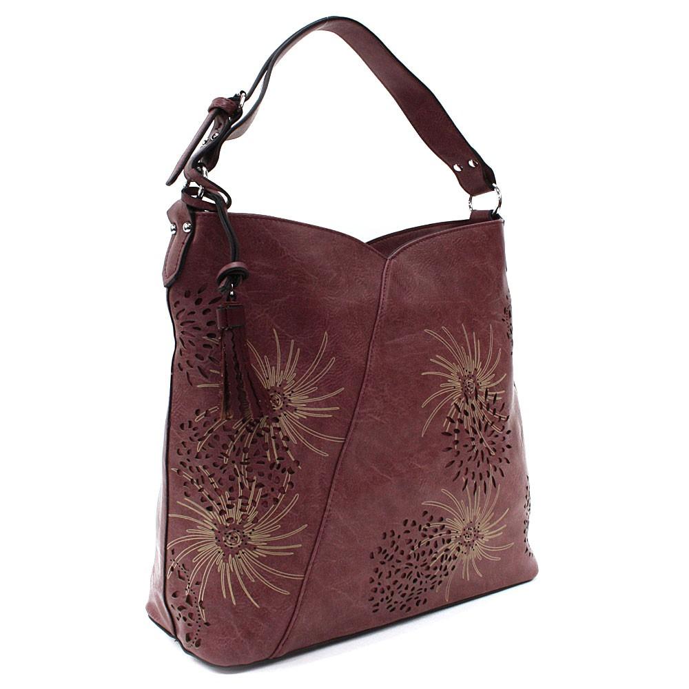 Vínová dámská zipová kabelka přes rameno se vzorem Dorine