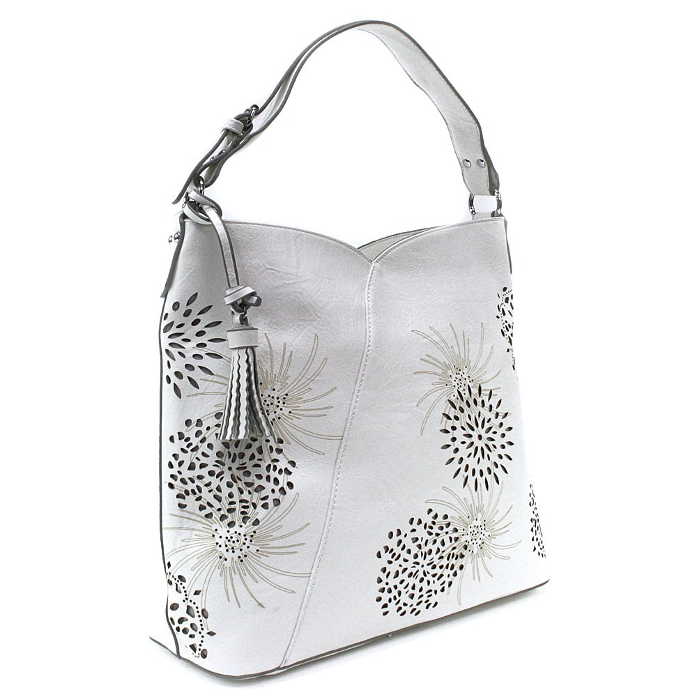 Bílá dámská zipová kabelka přes rameno se vzorem Dorine