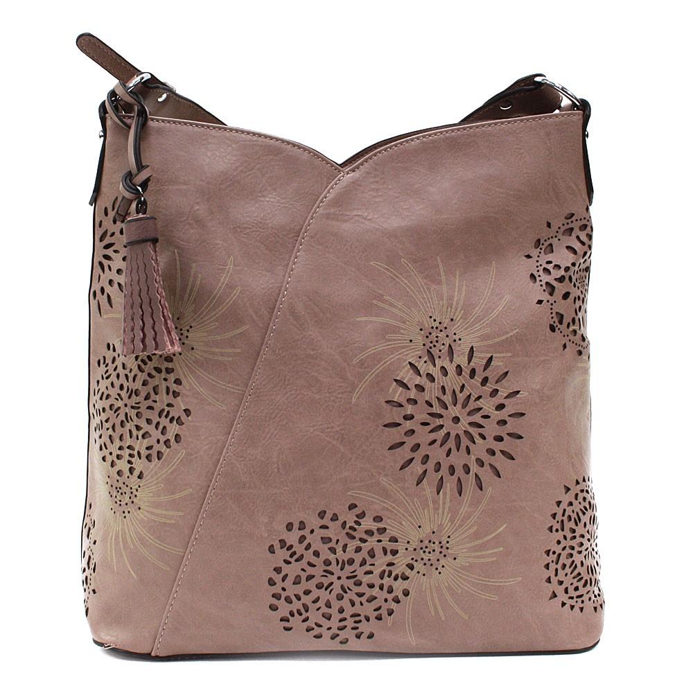 Starorůžová dámská zipová kabelka přes rameno se vzorem Dorine