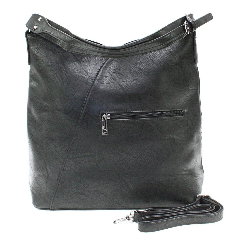 Tmavě šedá dámská zipová kabelka přes rameno se vzorem Dorine