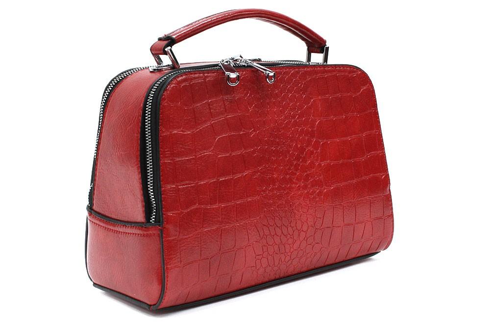 Červená dvouzipová dámská kufříková kabelka do ruky Berenice