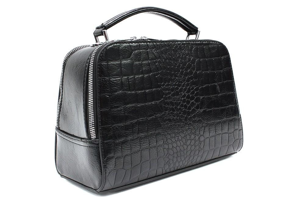 Černá dvouzipová dámská kufříková kabelka do ruky Berenice