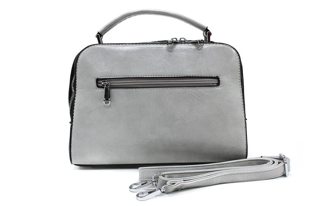 Světle šedá dvouzipová dámská kufříková kabelka do ruky Berenice
