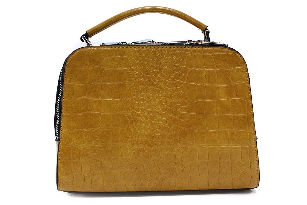 Žlutá dvouzipová dámská kufříková kabelka do ruky Berenice