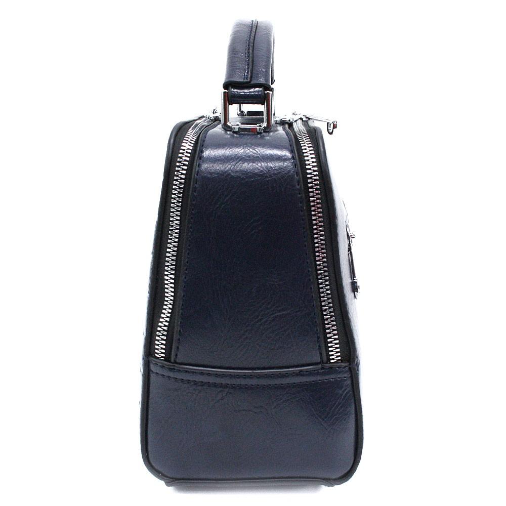 Tmavě modrá dvouzipová dámská kufříková kabelka do ruky Berenice