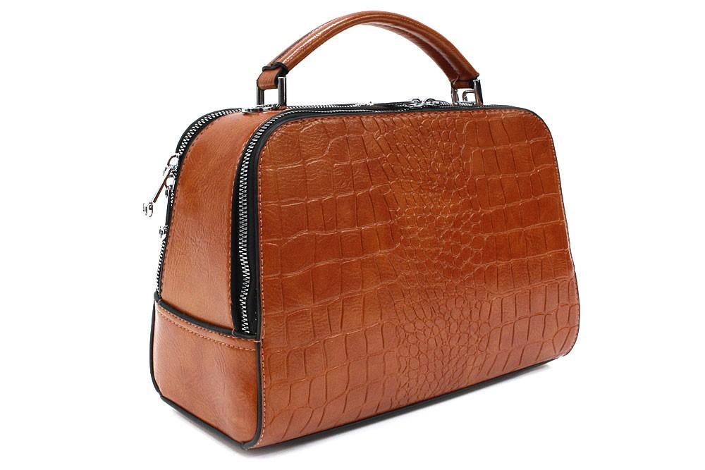 Koňakově hnědá dvouzipová dámská kufříková kabelka do ruky Berenice