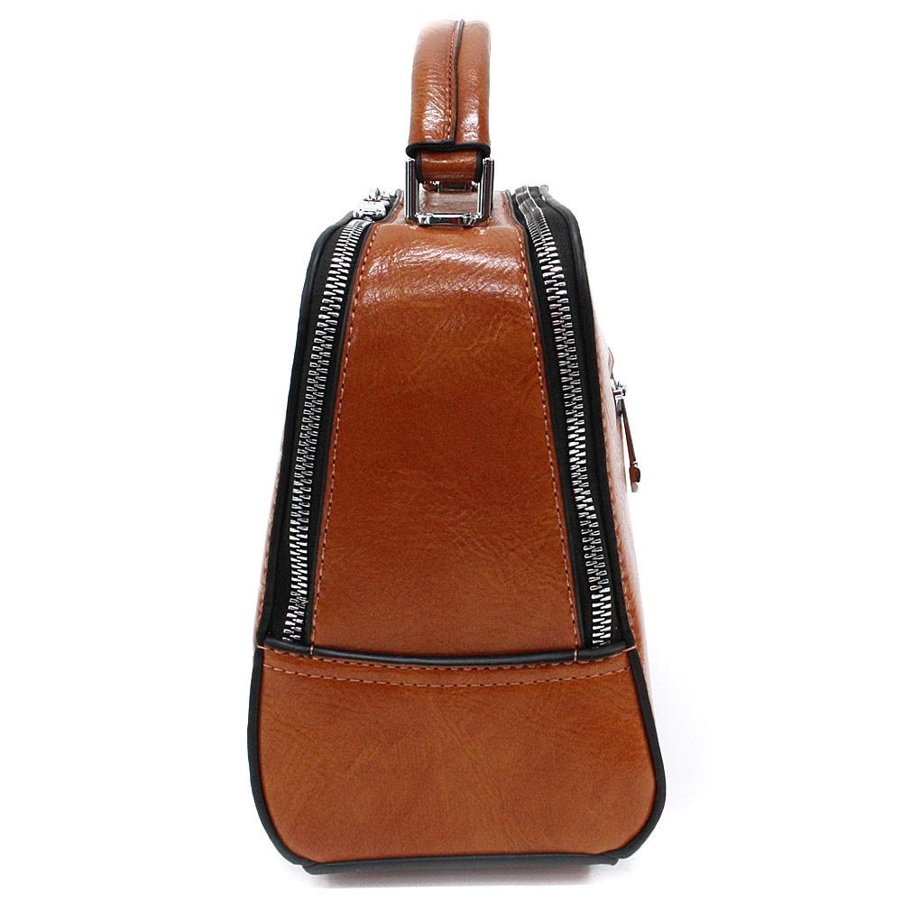 Oranžovohnědá dvouzipová dámská kufříková kabelka do ruky Berenice